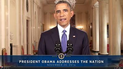 President Obama, SCREENSHOT, Presidential Address; from White House gov (11-20-2014)