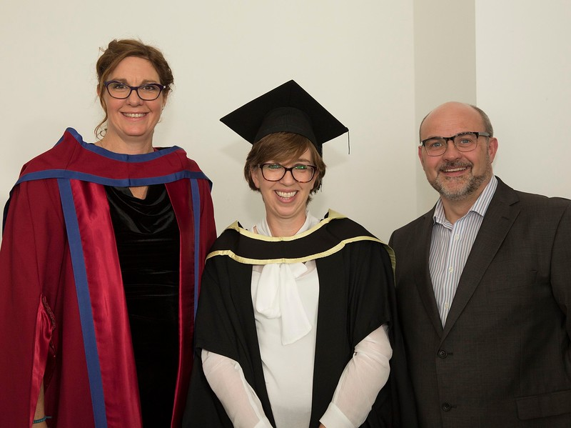 28/10/2015 Image Free to Use. Conferring at Waterford Institute of Technology. l-r; Dr. Jane Russell O'Connor WIT, Angela Cahill from Ardee Master of Arts in Managment in Education and Gearoid Cahill.Photo; Mary Browne
