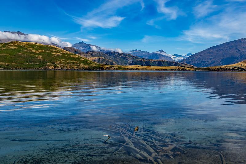 Blick von der «Glendhu Bay» Richtung Berge des «Mount Aspiring National Park»