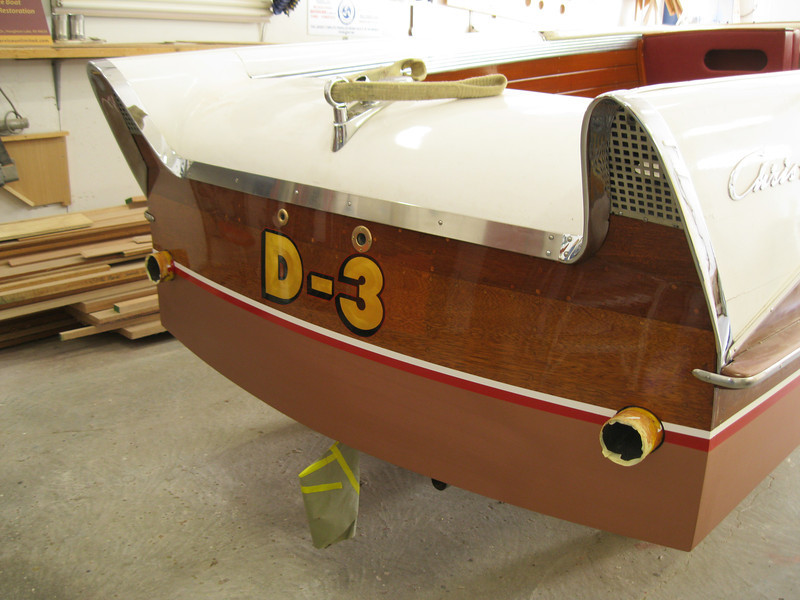 New water line and all the varnish applied to the transom. Boat work comlpleted waiting for the engine.