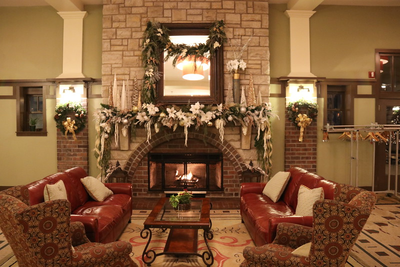 hotel lounge with fireplace