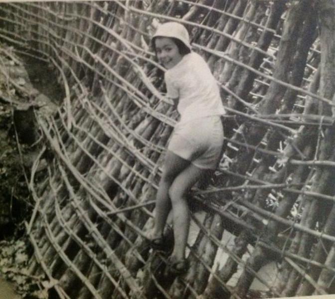 Lena Noberto Guimaraes trepando uma barragem de apanha de peixe?