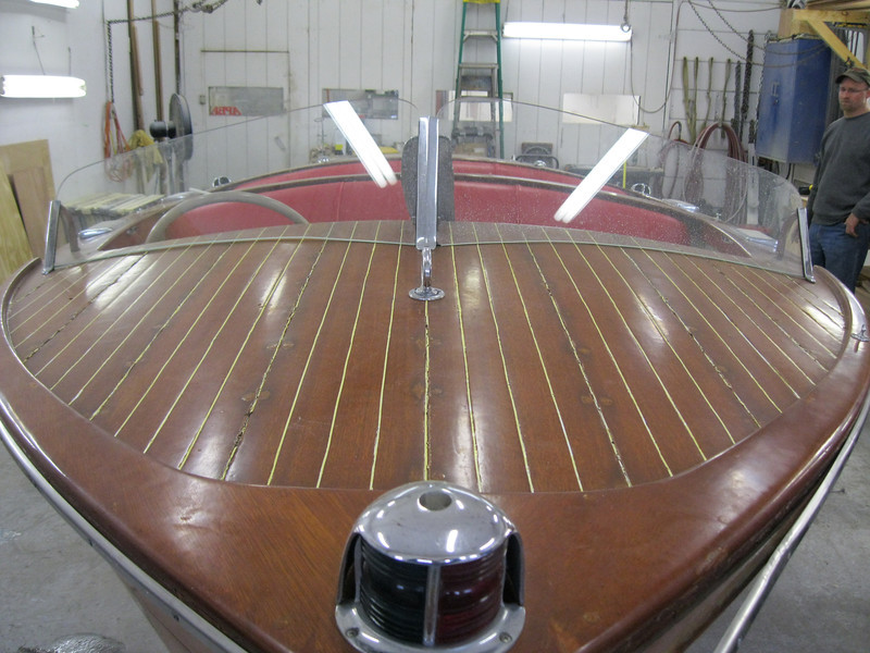 Close up of front deck and windshield.