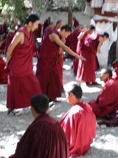 monks debating at Sera Monastery, Tibet