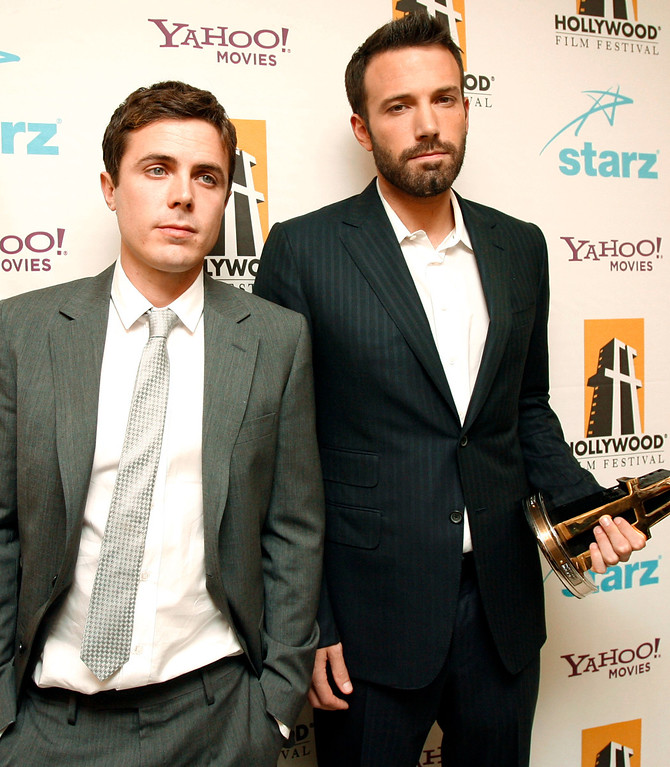 . Casey Affleck, left, and Ben Affleck are seen backstage at the Hollywood Film Festival 11th Annual Hollywood Awards in Beverly Hills, Calif. on Monday, Oct. 22, 2007. (AP Photo/Matt Sayles)