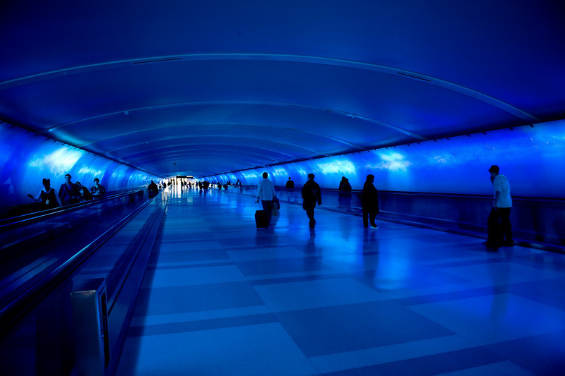 Color and sound show at the Detroit airport.