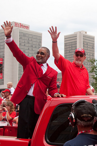 "Ozzie Smith and Bruce Sutter, Cardinals Hall of Famers, 2009 MLB All Star Game ""Red Carpet Show"", St. Louis, MO"
