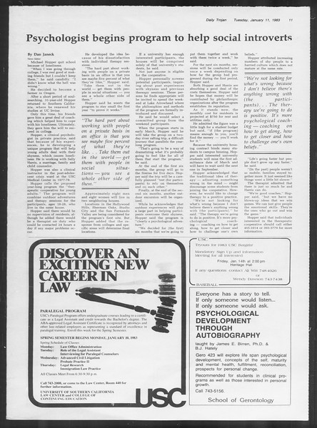 Daily Trojan, Vol. 93, No. 1, January 11, 1983