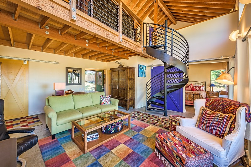 Living Room & Spiral Staircase Up to Loft