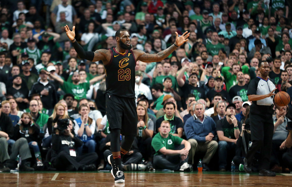 . Cleveland Cavaliers forward LeBron James gestures during the second half in Game 7 of the NBA basketball Eastern Conference finals against the Boston Celtics, Sunday, May 27, 2018, in Boston. (AP Photo/Elise Amendola)