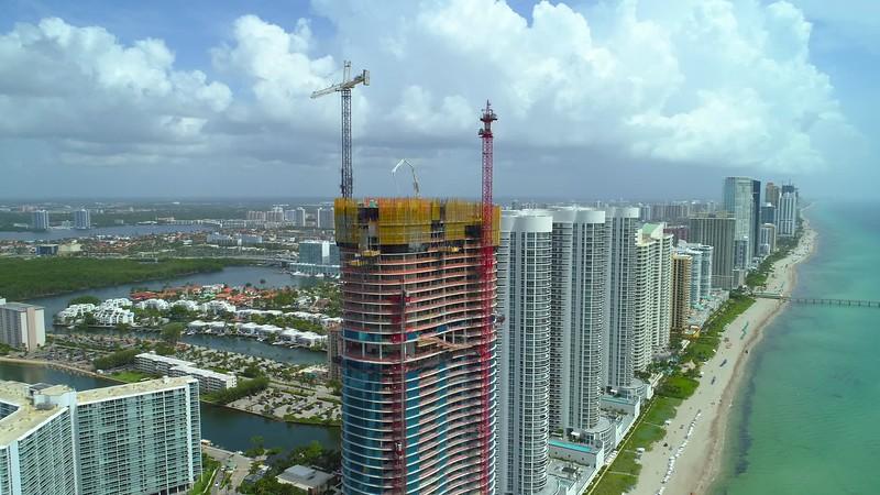 Aerial Ritz Carlton Residences Sunny Isles Beach topoff construction