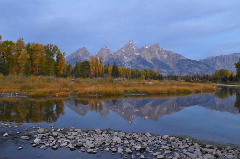 Grand Teton National Park.  Sunrise at Schwabacher's Landing.