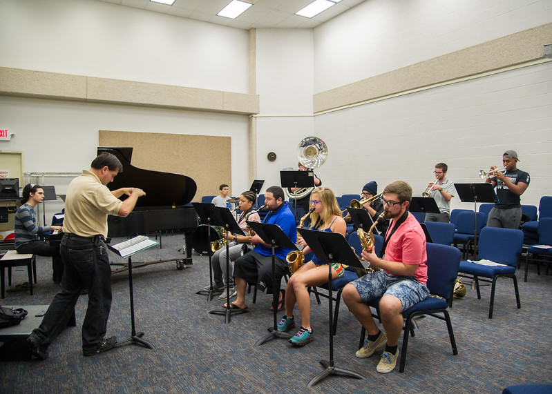 The Islander Jazz group, headed by Dr. Brian Thacker, rehearses for their performance at the Holiday Gala concert on November 20th in the Performing Arts Center.