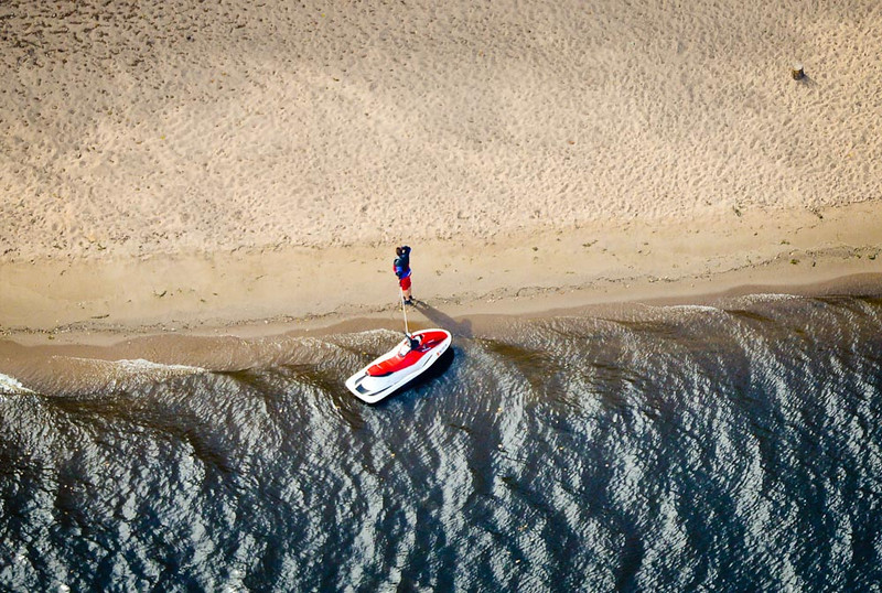 . A jet ski stops on a sandy beach on the west bank of the St. Croix River Tuesday. (Pioneer Press: Ben Garvin)