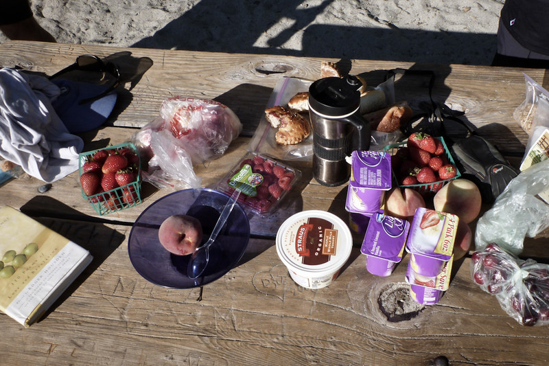 After launching at dawn, breakfast on the beach was in order.