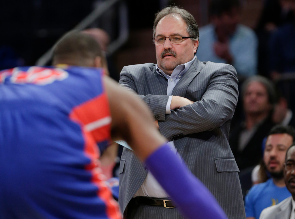 . Detroit Pistons  coach Stan Van Gundy watches his team play during the first half of an NBA basketball game against the New York Knicks on Wednesday, April 15, 2015, in New York. (AP Photo/Frank Franklin II)