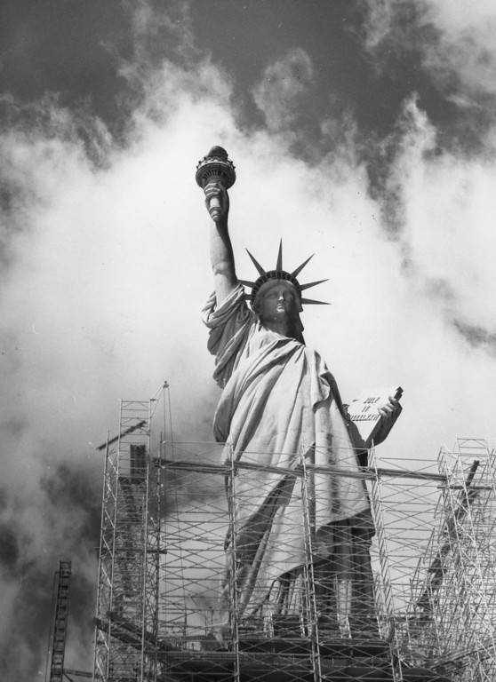 . April 1984:  The statue of Liberty on Ellis Island in New York was opened in 1886.  (Photo by Peter Keegan/Keystone/Getty Images)