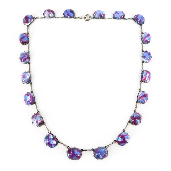 Vintage Art Deco Czech Purple & Blue Foil Panel Necklace