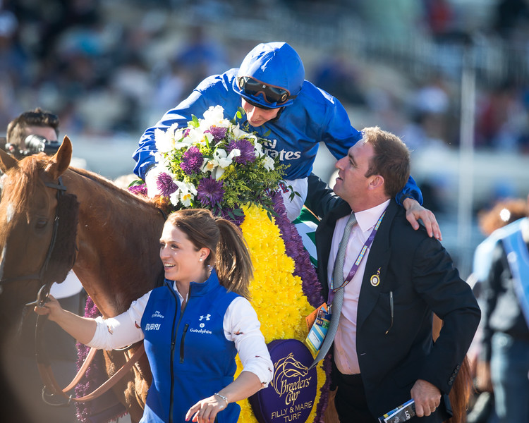 Wuheida (Dubawi) wins the BC Filly & Mare Turf at Del Mar on 11.4.2017. William Buick up, Charlie Appleby trainer, Godolphin Stable owner.