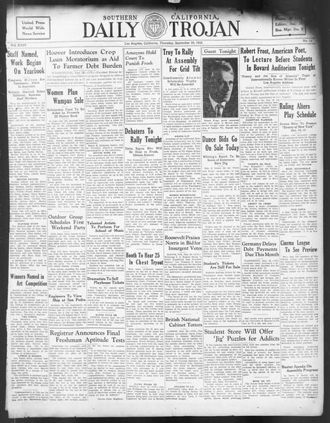 Daily Trojan, Vol. 24, No. 15, September 29, 1932