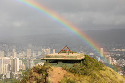 Rainbow over Diamond Head bunker. © 2020 Kenneth R. Sheide