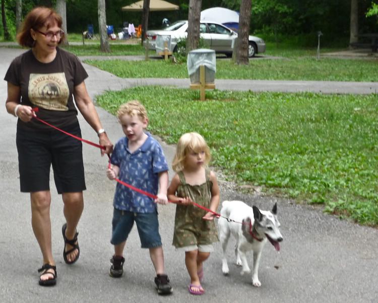 I was teaching Jackson and Thalia the 'dog training' method of walking the dog.