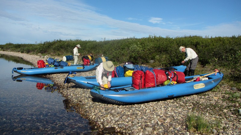 We blew up canoes (patched a hole in one), organized gear, & loaded everything up next morning.