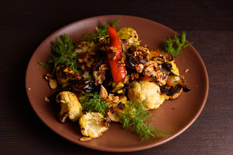 roast cauliflower with dill and almond