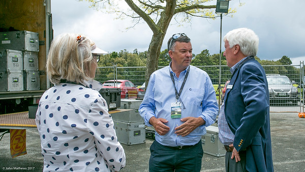 Deb  and Peter Ctfield talking to the  communications manager on the final day of the Asia-Pacific Amateur Championship tournament 2017 held at Royal Wellington Golf Club, in Heretaunga, Upper Hutt, New Zealand from 26 - 29 October 2017. Copyright John Mathews 2017.   www.megasportmedia.co.nz