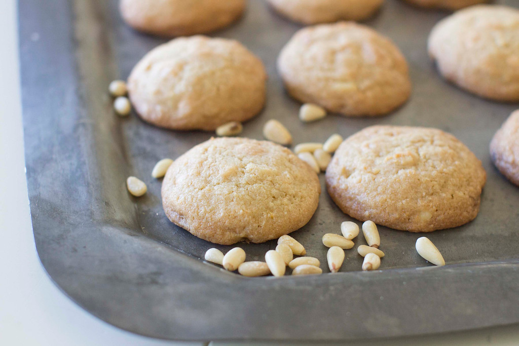 ". The pine nuts add a wonderful toothsome creaminess that plays so well with the white chocolate chips and orange zest. <a href=""http://www.nhregister.com/article/NH/20141125/ENTERTAINMENT/141129680\"">Get the recipe for chewy white chocolate pine nut cookies</a>. (AP Photo/Matthew Mead)"