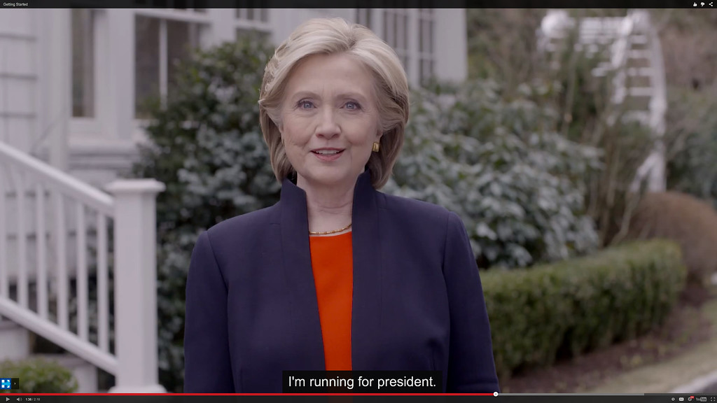 . In this image taken from video posted to hillaryclinton.com on Sunday, April 12, 2015, Hillary Rodham Clinton announces her campaign for president. The former secretary of state, senator and first lady enters the race in a strong position to succeed her rival from the 2008 campaign, President Barack Obama. (Hillary For America via AP)