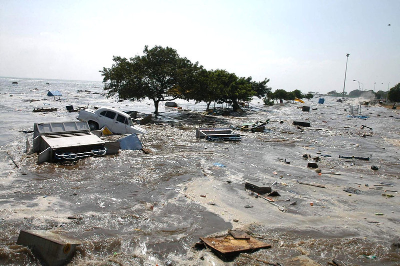 . A general view of the scene at the Marina beach in Madras, 26 December 2004, after tidal waves hit the region. Tidal waves devastated the southern Indian coastline killing 1000 people, the home minister said, warning that the grim death toll was expected to rise. Disaster struck just after dawn as a huge earthquake in Indonesia sent tsunamis crashing westwards, sweeping men, women and children out to sea.   STR/AFP/Getty Images