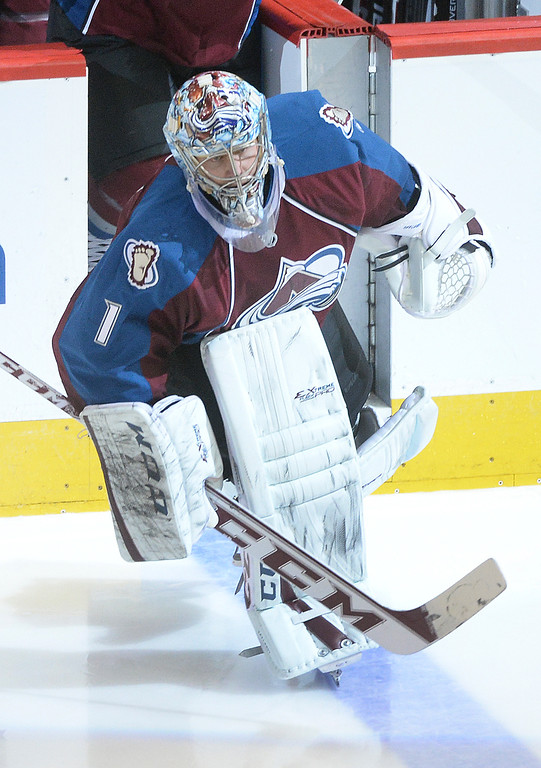 . DENVER, CO. - JANUARY 04:  Colorado goalie Semyon Varlamov took the ice for the second period. The Colorado Avalanche hosted the San Jose Sharks at the Pepsi Center Saturday afternoon, January 4, 2014. Photo By Karl Gehring/The Denver Post