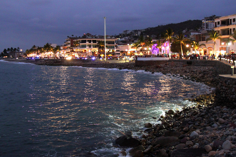 The malecon boardwalk in downtown Puerta Vallarta.