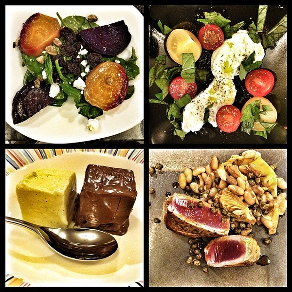 On the table tonite: roasted beet and arugula salad; buffalo mozzarella caprese; seared tuna with white bean artichoke salad; honey-vanilla gelato and chocolate pretzel Guinness ice cream #food #foodie #jux