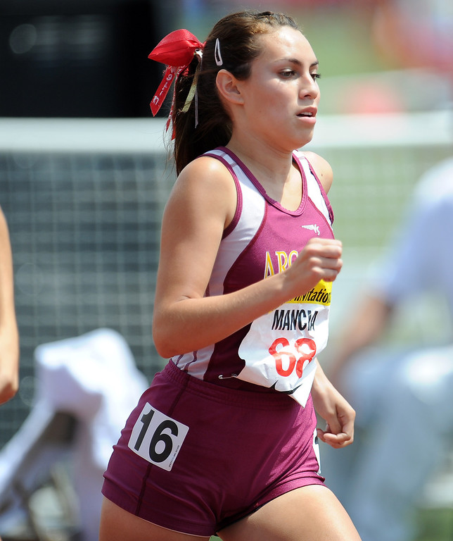 . Arcadia\'s Glindyll Mancia competes in the 800 meters run in the during the Arcadia Invitational at Arcadia High School on Saturday, April 6, 2013 in Arcadia, Calif.  (Keith Birmingham Pasadena Star-News)