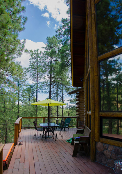 Our front deck. The front deck and big picture window face west. Looking forward to sunsets here.
