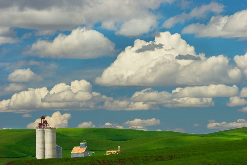 Silo with clouds, Washington