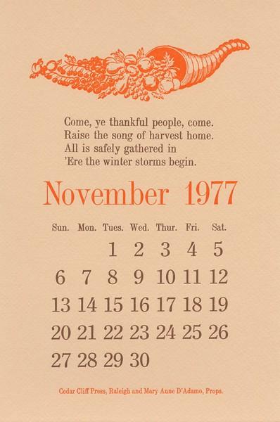November, 1977, Cedar Cliff Press