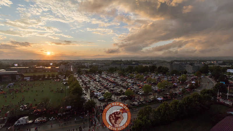 The view from the top of Lane Stadium looking over Lot 1 and the residential side of campus at sunset. (Mark Umansky/TheKeyPlay.com)