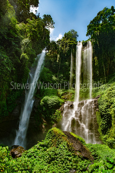 Beautiful Sekumpul Waterfall in the lush green tropical Bali jungle