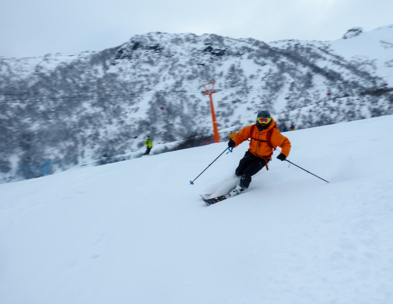Marc ripping easy powder on his new skis. Day 3