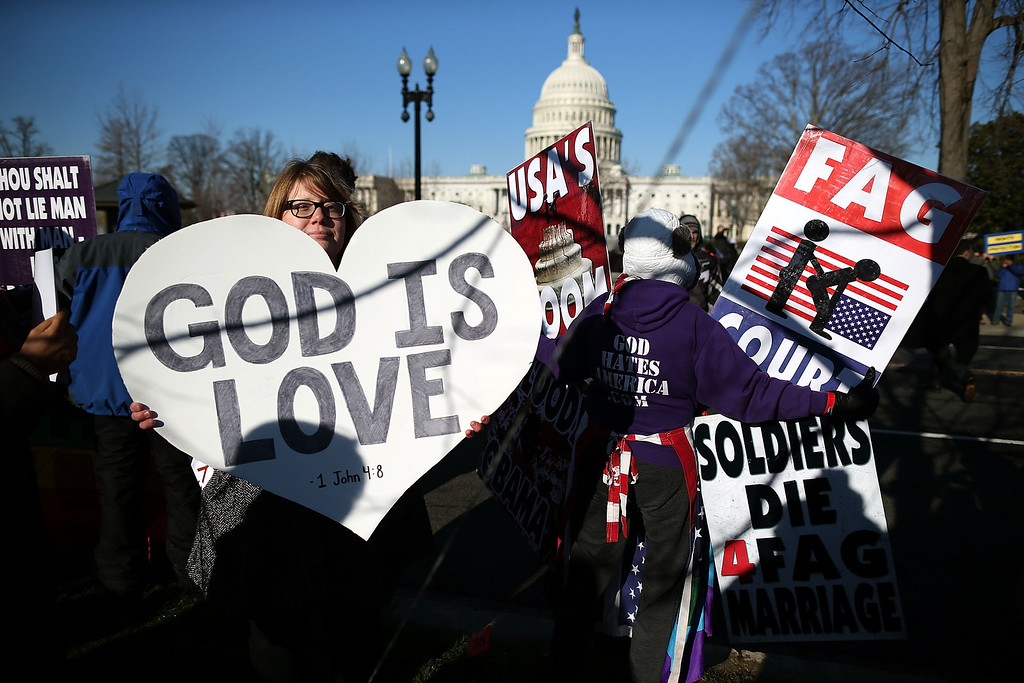 . Protesters for and against gay marriage rally in front of the U.S. Supreme Court, on March 26, 2013 in Washington, DC. (Photo by Mark Wilson/Getty Images)