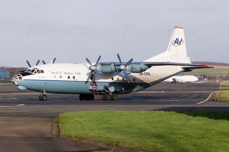 UR-CFB. Antonov An-12BP. Aerovis Airlines. Prestwick. 240208.