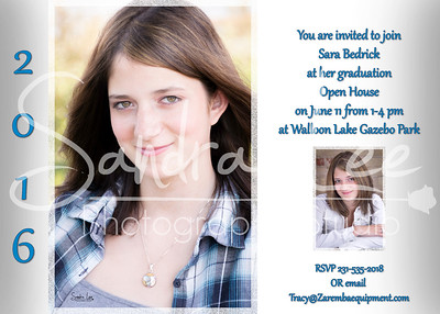 Sara 2016 Senior - Open House Invitations - Graphic Design - Petoskey - Bay Harbor