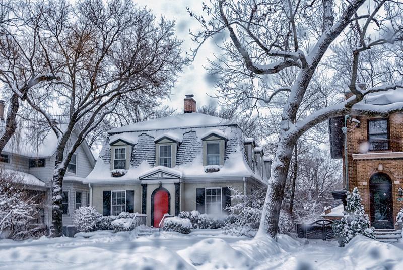 The red door in the snow