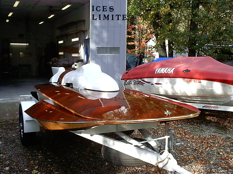 Front view of completed boat.