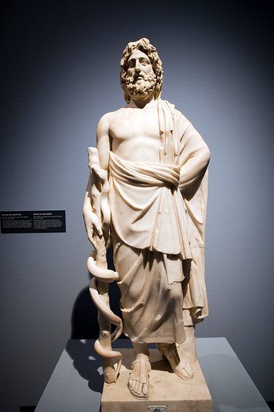 Asclepius, Roman sculpture in marble, 2nd century, Pergamon Museum, Berlin, Germany