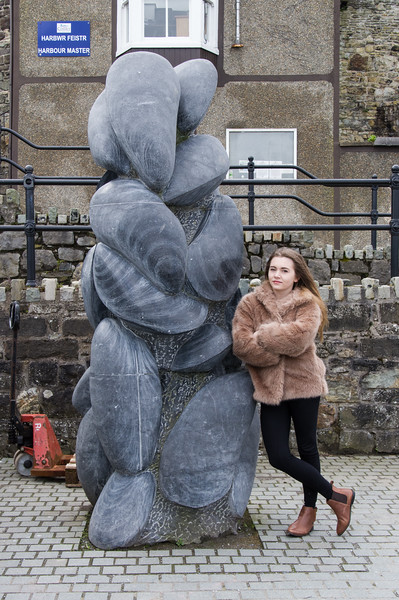 Niece, Lucy Richardson at a modern statue in Conway, North Wales