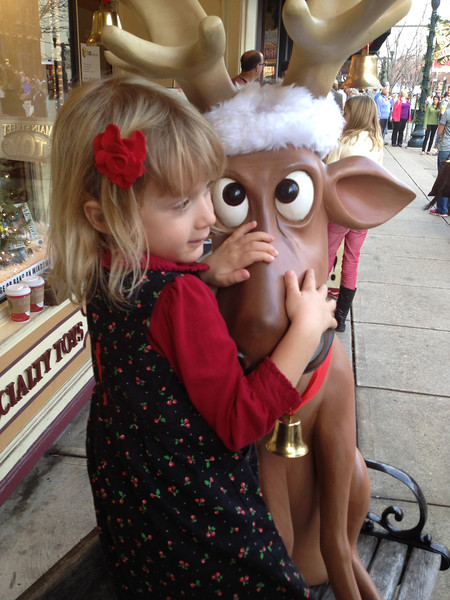 While in Franklin she met a friendly cross eyed moose.